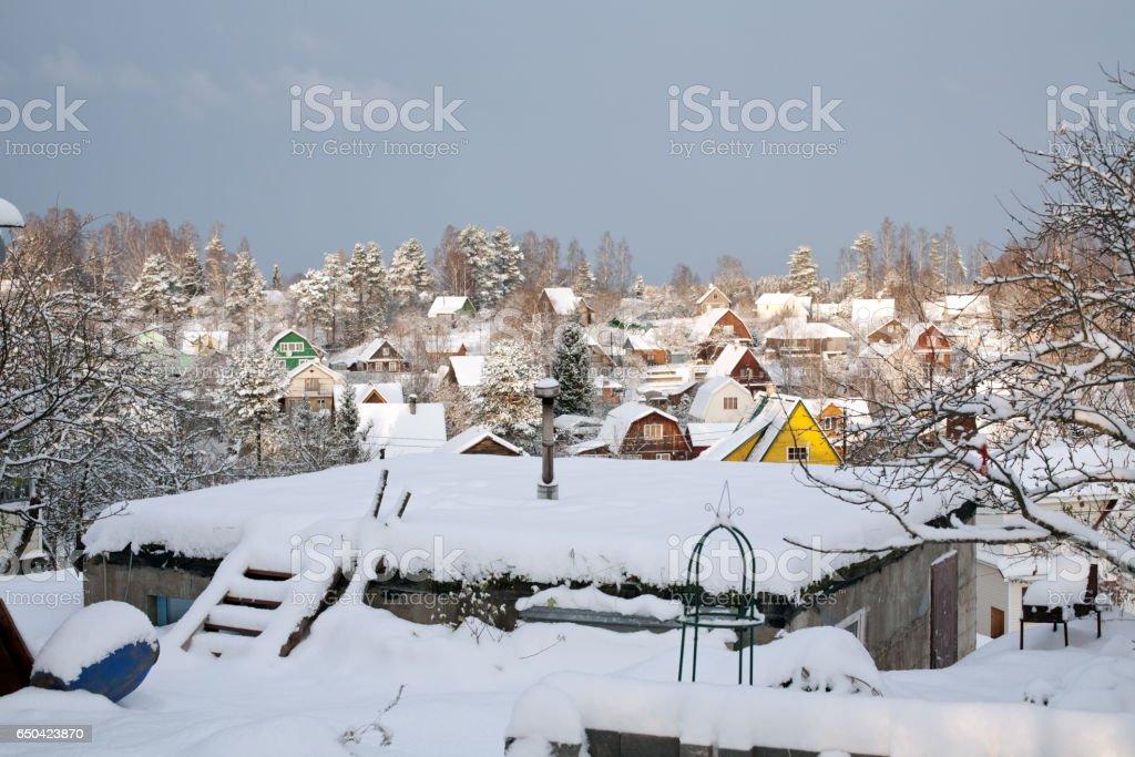 suburban settlement winter view stock photo