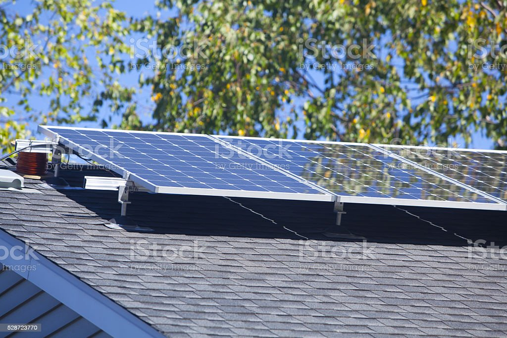 Suburban Solar Panels stock photo