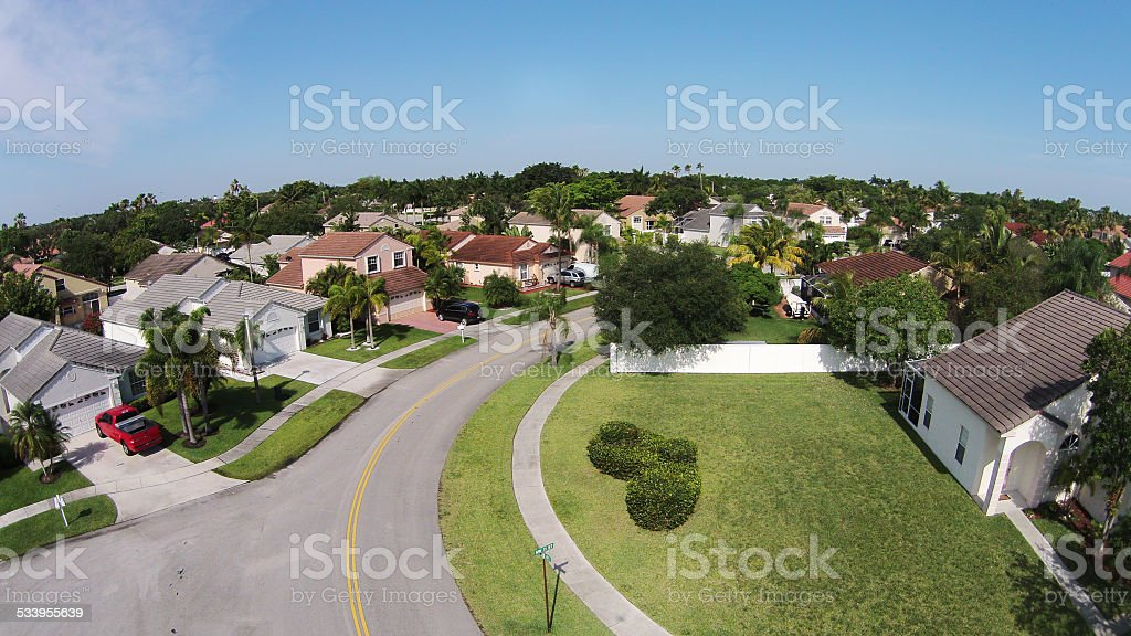 Suburban street aerial view stock photo