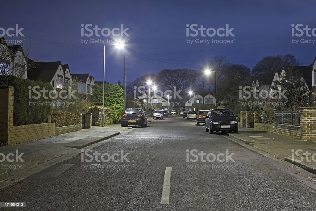Suburban Street at Night-More in lightboxes below royalty-free stock photo