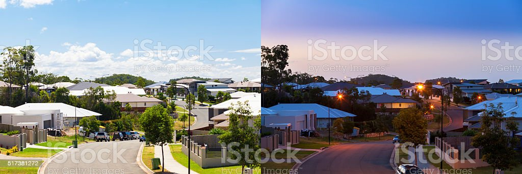 Suburban street day and night stock photo