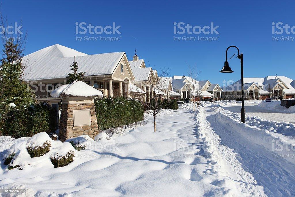 Suburban Street in Winter royalty-free stock photo