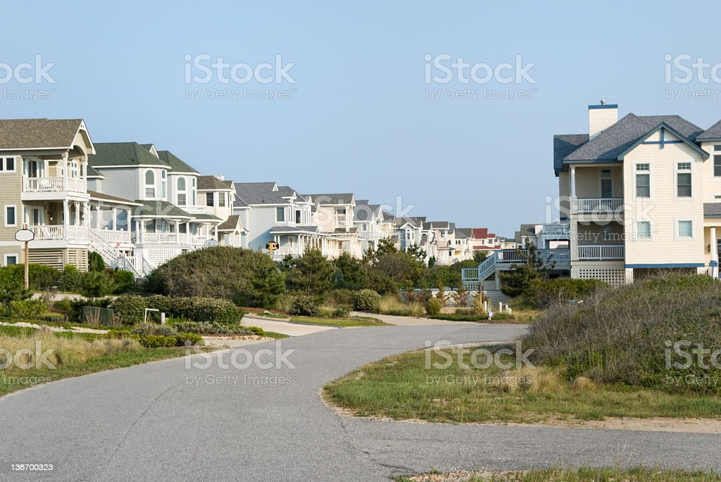 Suburban Street with New Houses royalty-free stock photo