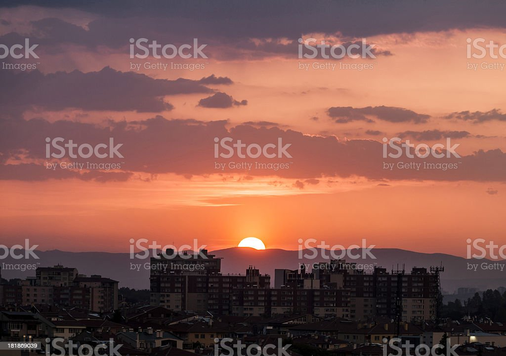 Suburban Sunset stock photo