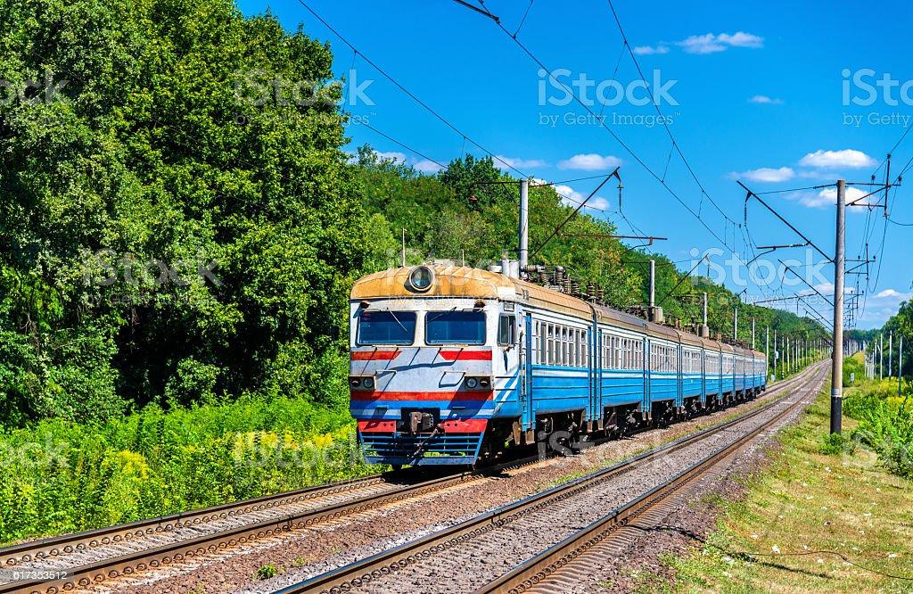 Suburban train in Kiev Region of Ukraine stock photo