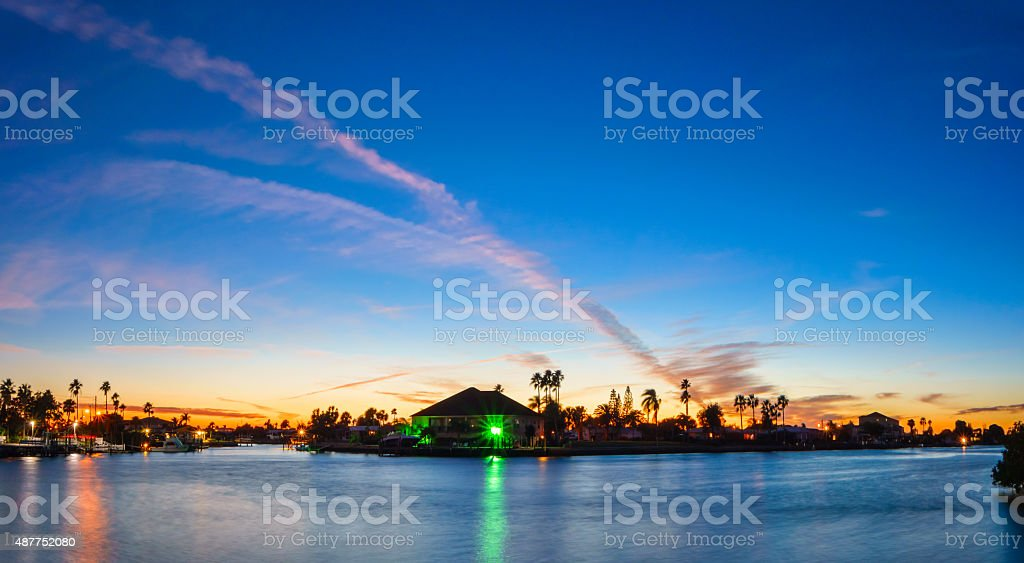 Suburban Waterfront Homes Florida USA stock photo
