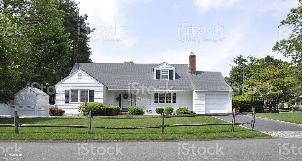 Suburban White Ranch Home Wood Coral Fence stock photo