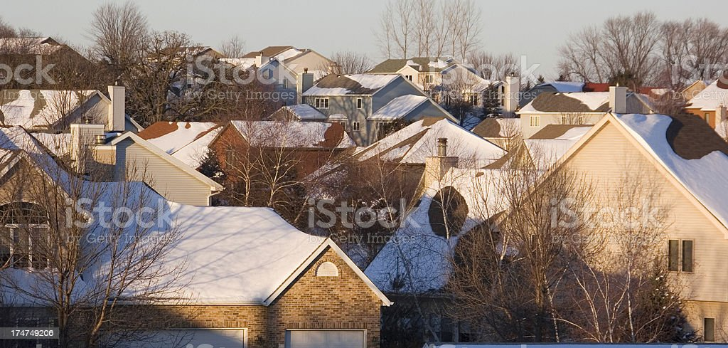 Suburban Winter Sunset royalty-free stock photo