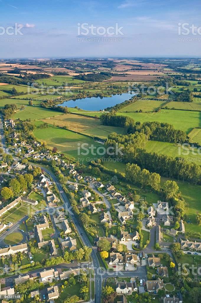 Suburbs and countryside stock photo