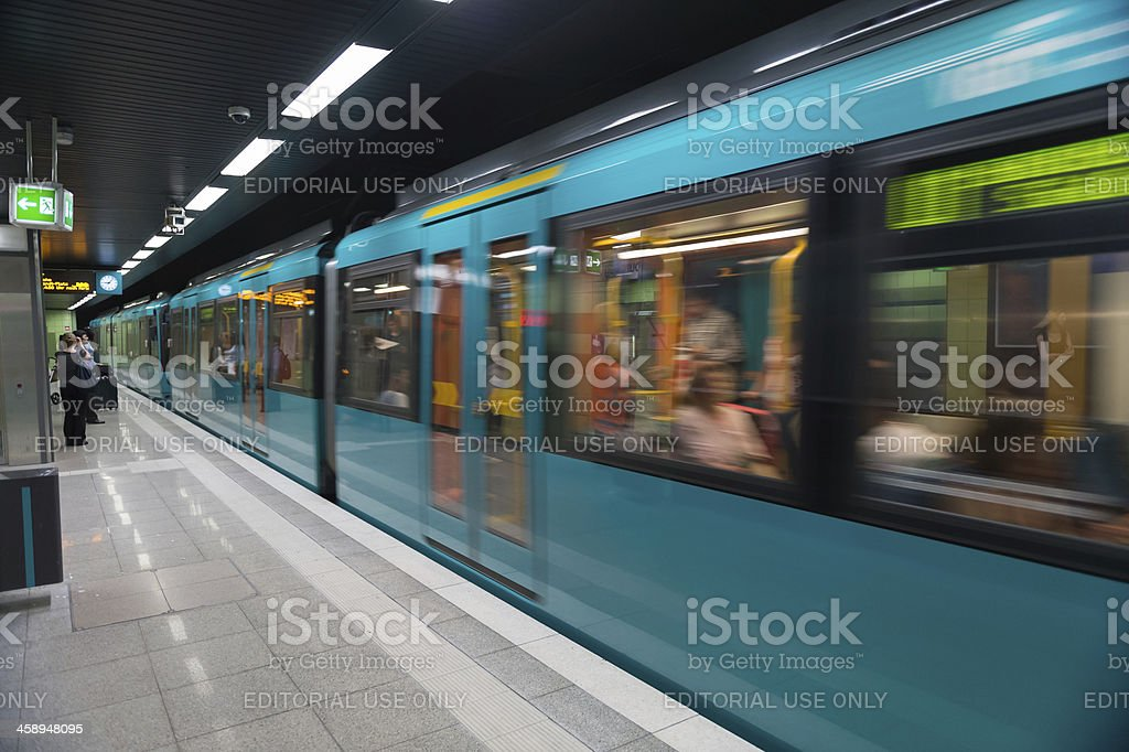'Subway arriving at station in downtown Frankfurt, Germany' stock photo
