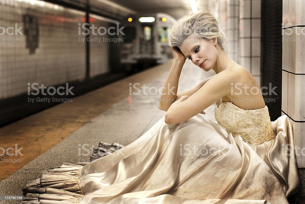 Subway Bride stock photo