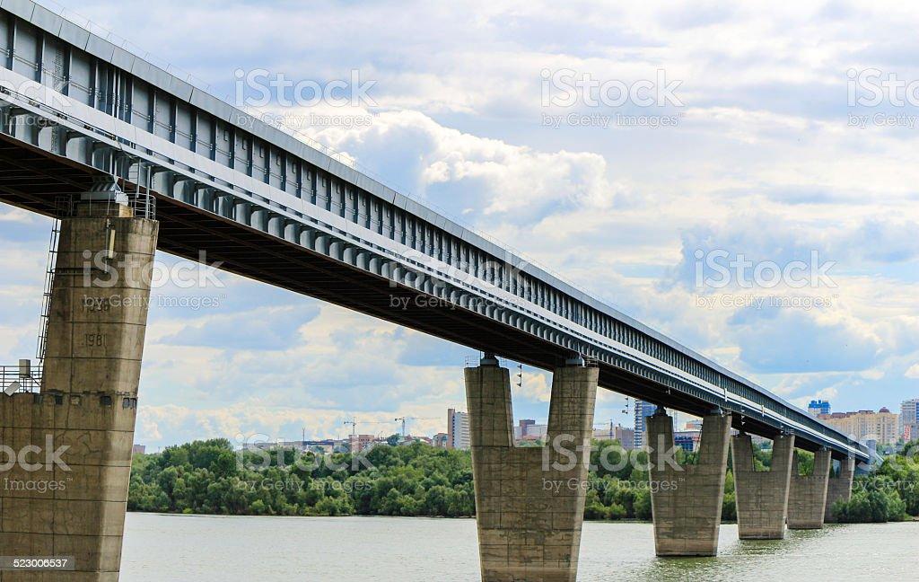 Subway bridge over river Ob stock photo
