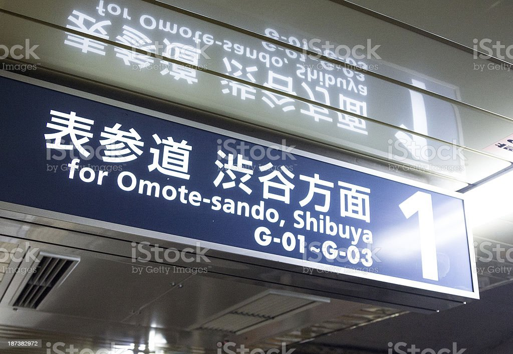 Subway direction in Tokyo stock photo