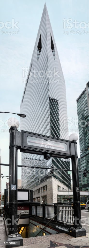 subway entrance in Chicago downtown stock photo