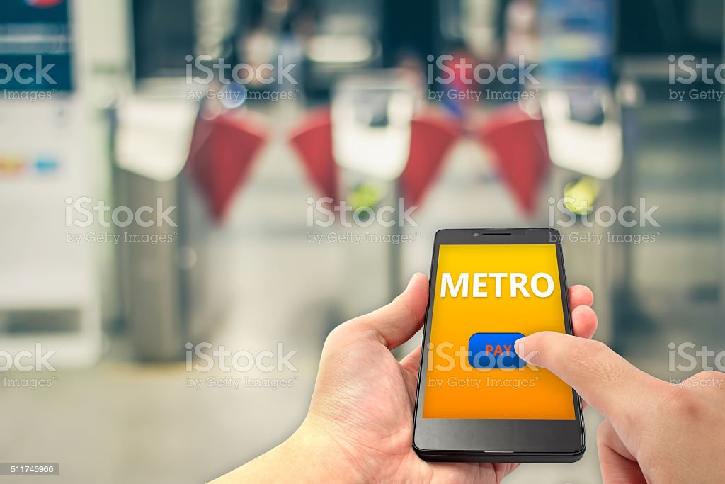Subway entrance payment stock photo