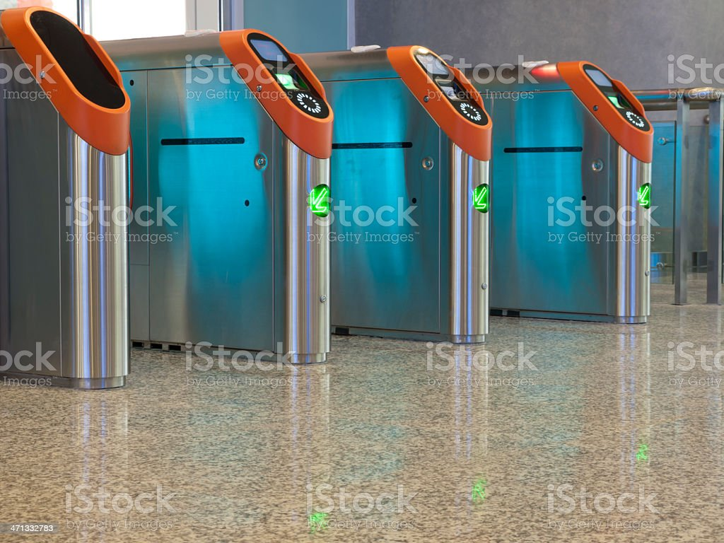 Subway entrance toll gates in a row royalty-free stock photo