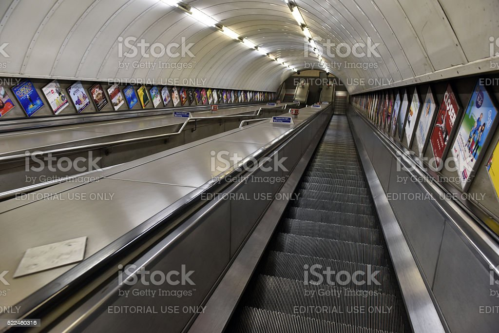 Subway escalator stock photo