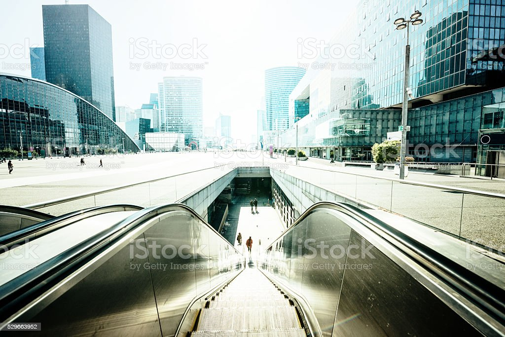 Subway escalator stock photo