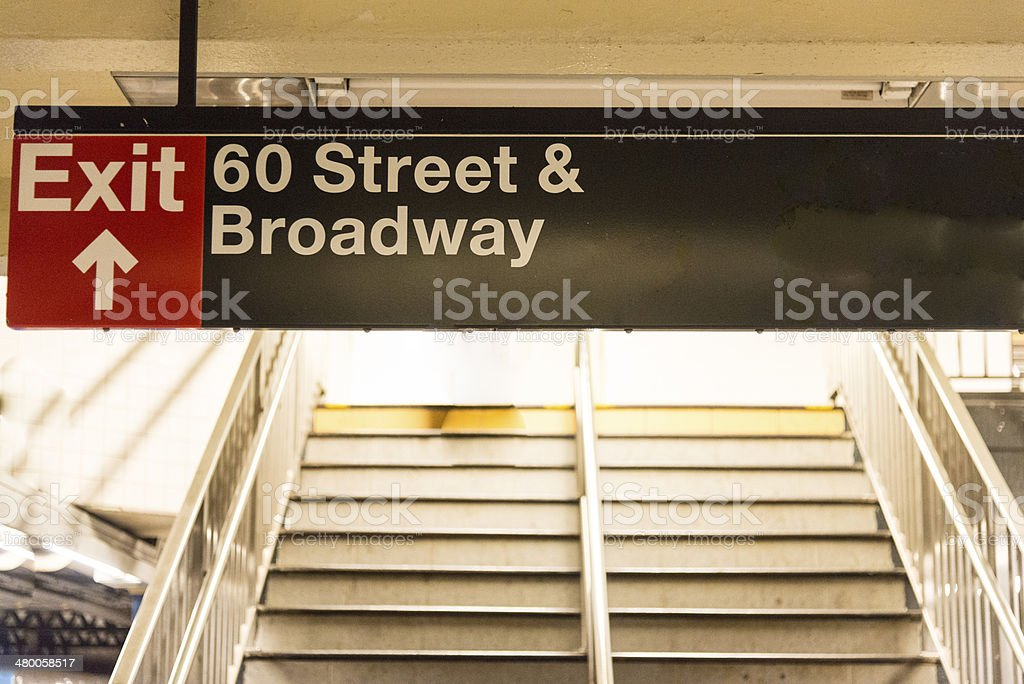 Subway Exit Billboard, Broadway, 60 street, New York, USA stock photo