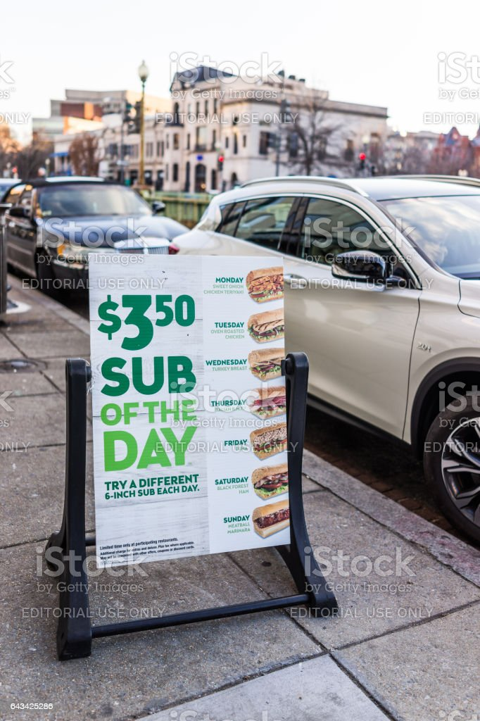 Subway fast food restaurant sub of the day sign stock photo