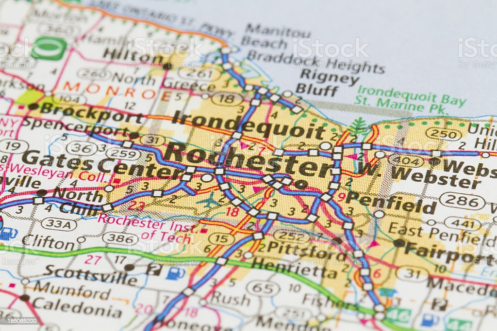 Subway map of Rochester, New York stock photo
