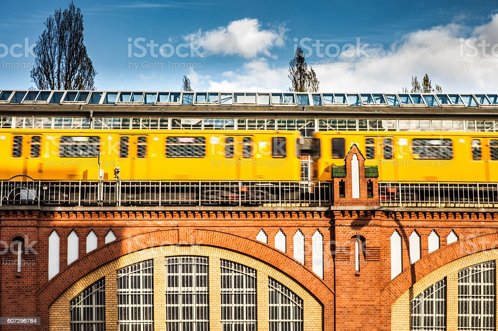 Subway metro train in Berlin on Oberbaum bridge stock photo