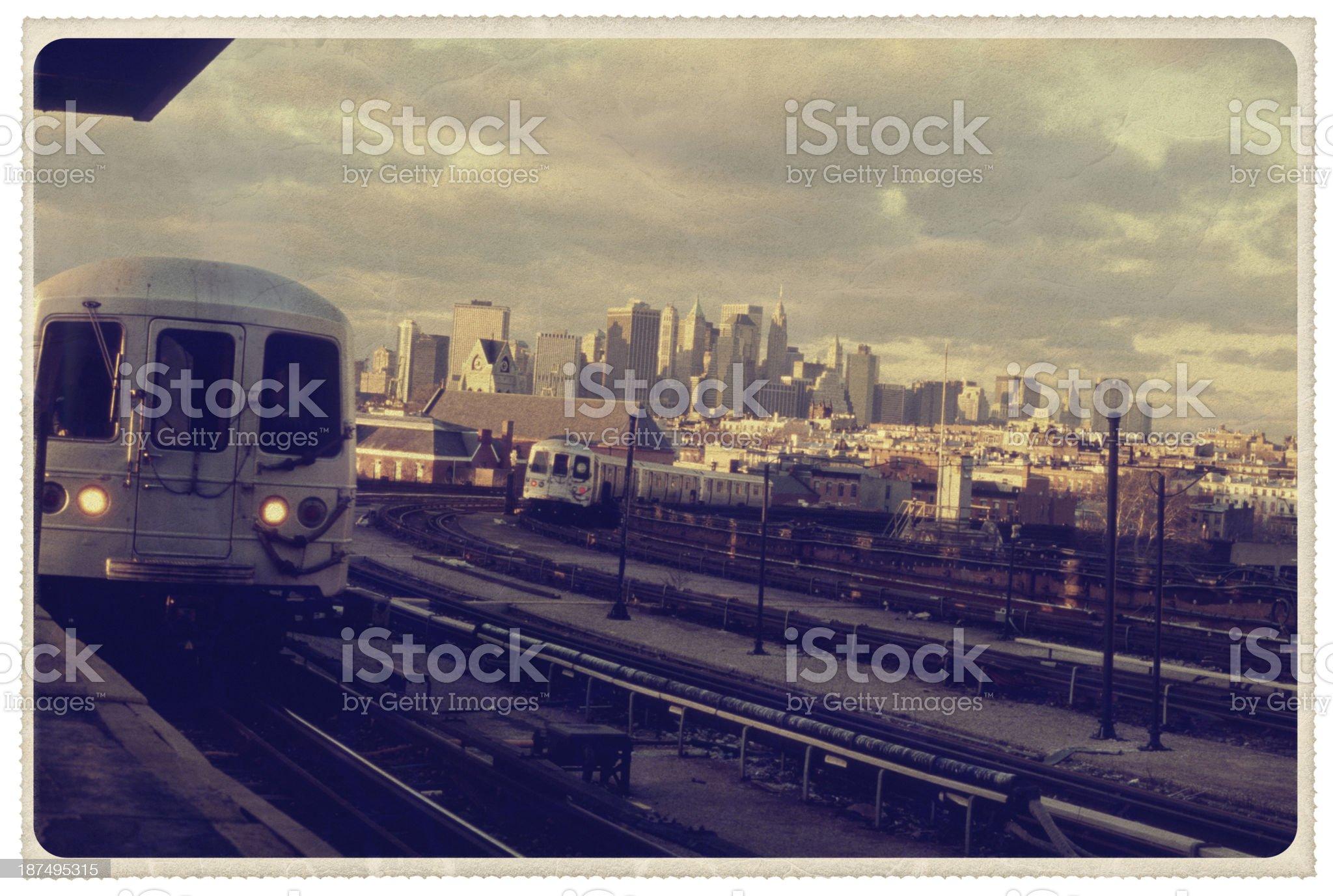 Subway Platform in Brooklyn - Vintage Postcard royalty-free stock photo