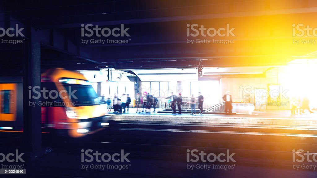 Subway platform stock photo