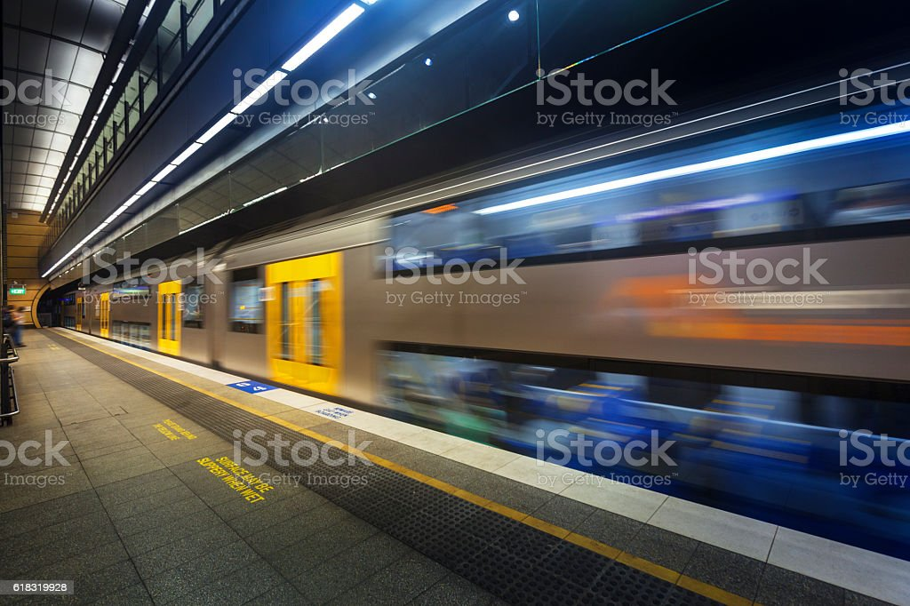 Subway platform stock photo
