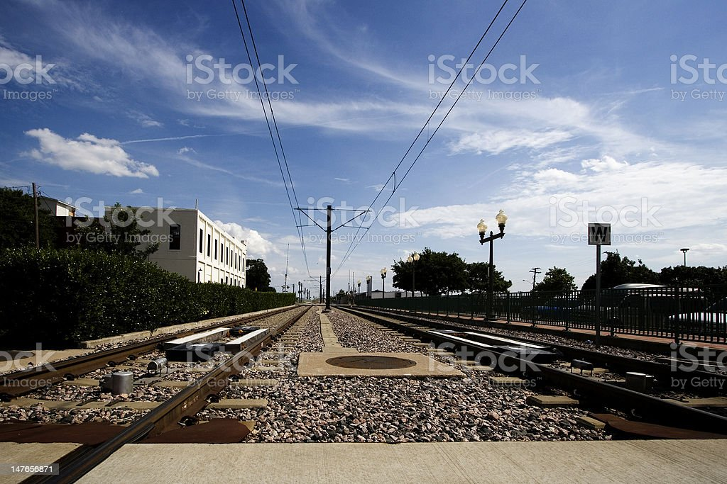 Subway Rail Tracks Disappearing into the Horizon royalty-free stock photo