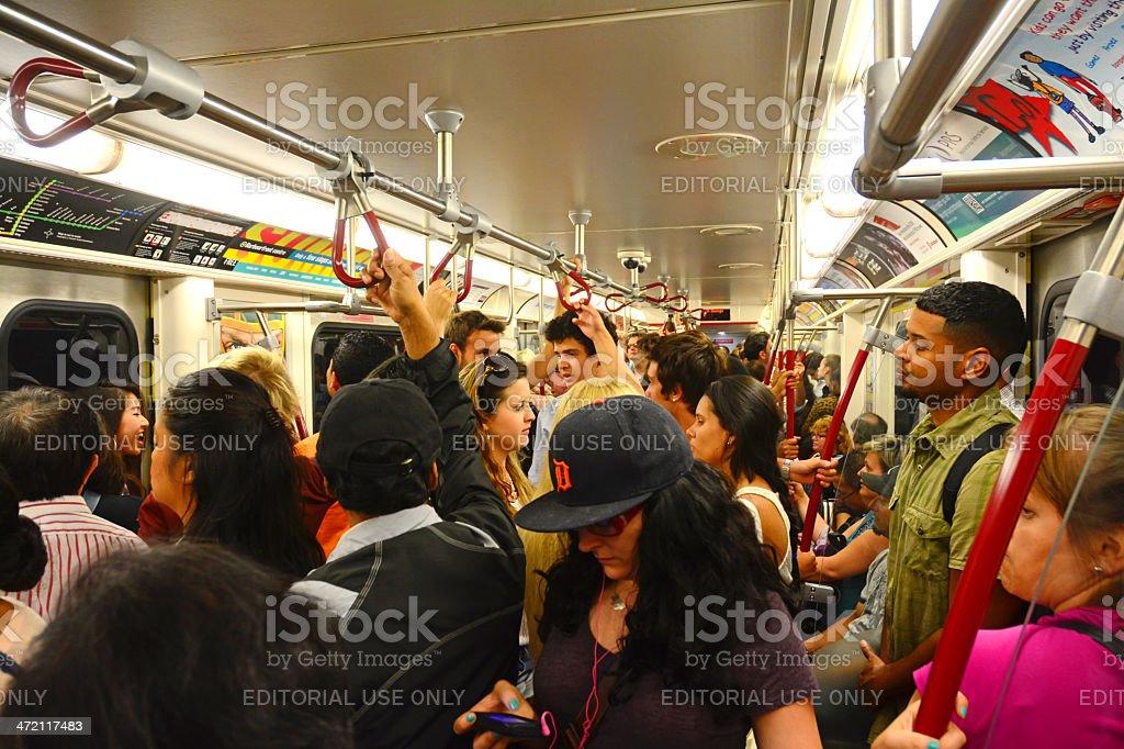 Subway rush hour passengers, Toronto stock photo