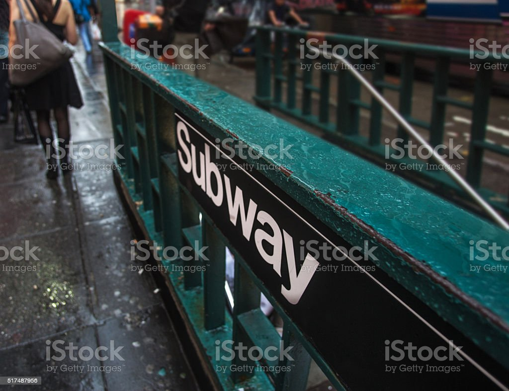 Subway sign and entrance stock photo