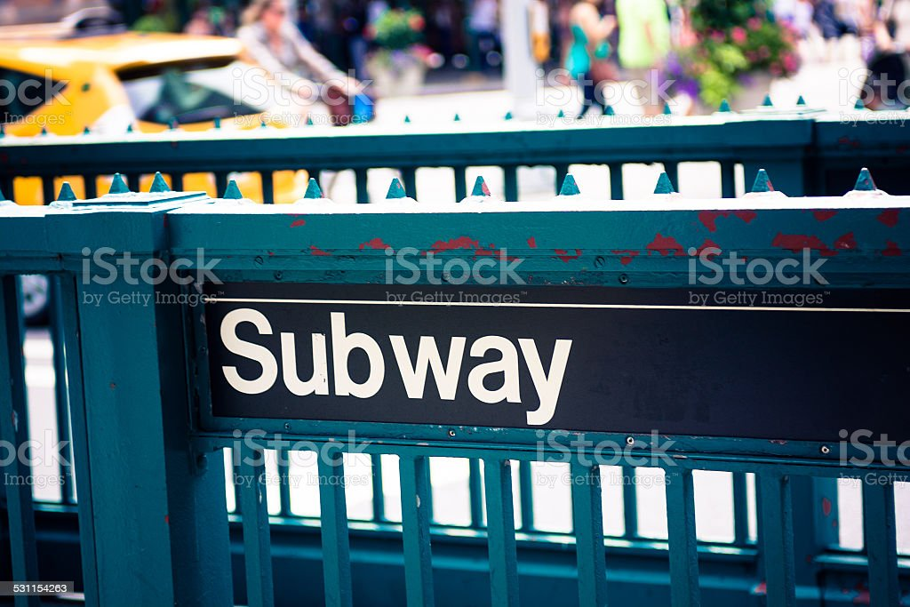 Subway sign at entrance to station in New York City stock photo