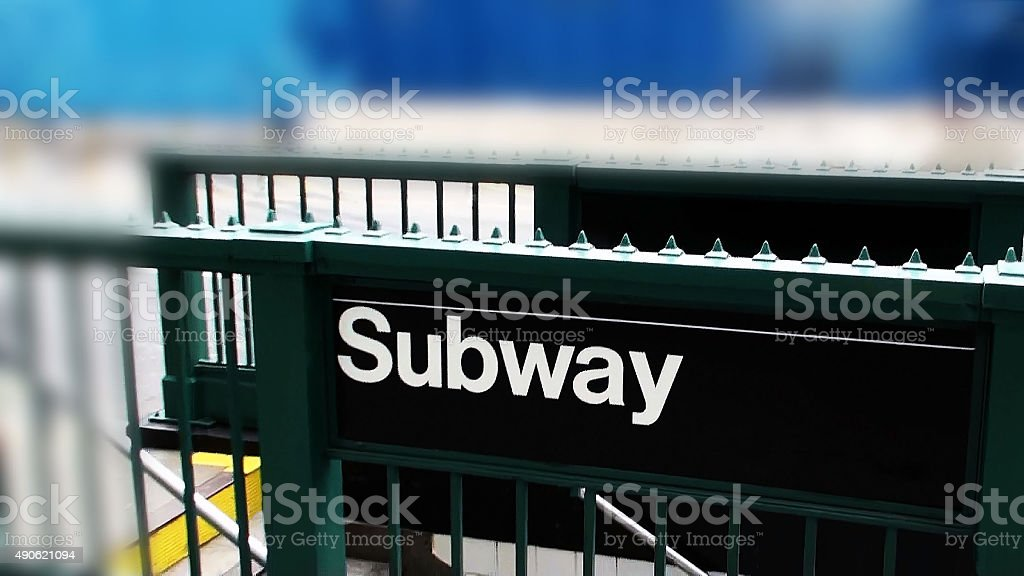 Subway Sign In New York City USA,North America stock photo