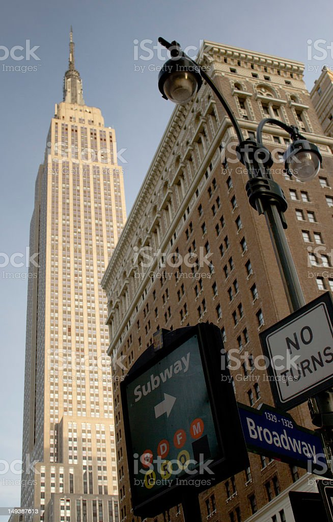 Subway sign on 34th and Broadway, NYC stock photo