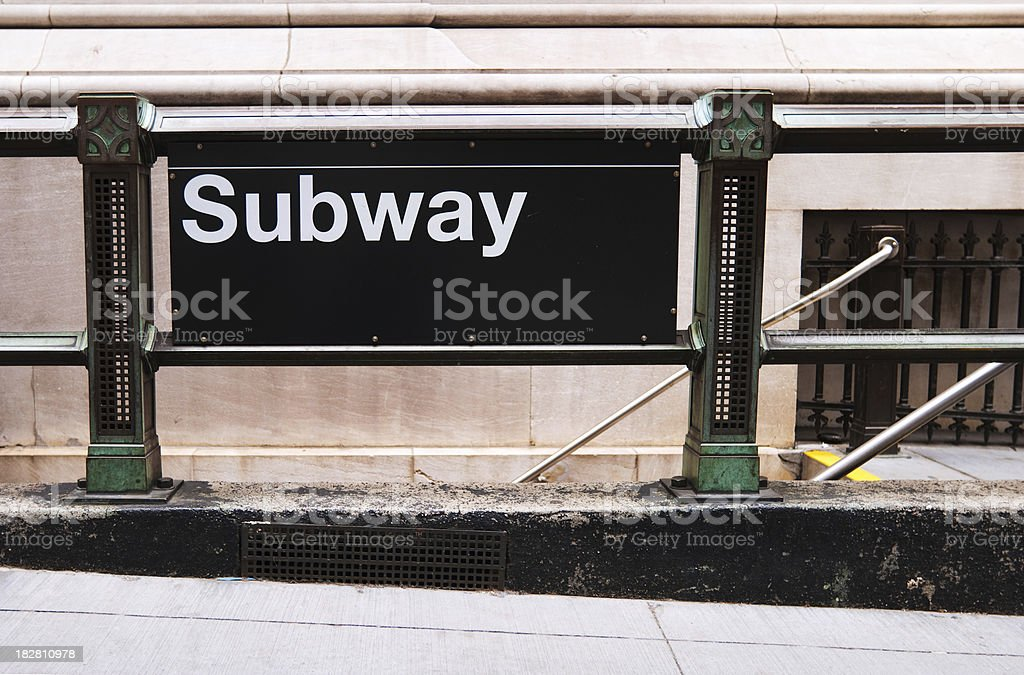 Subway sign outside of a station stock photo