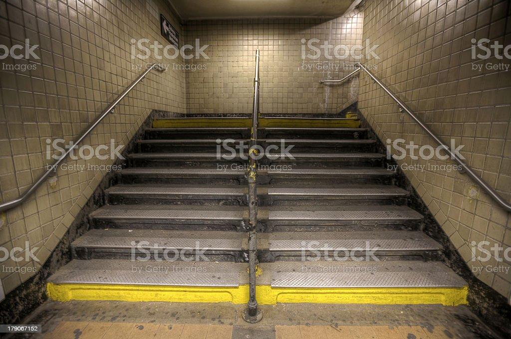 NYC Subway Stairs stock photo