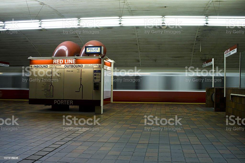 Subway station and train royalty-free stock photo