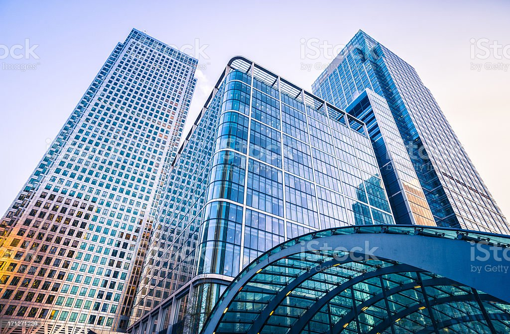 Subway station at Canary Wharf against skyscrapers, London stock photo