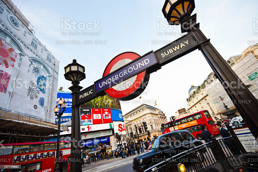 Subway station at Piccadilly Circus in London, UK royalty-free stock photo