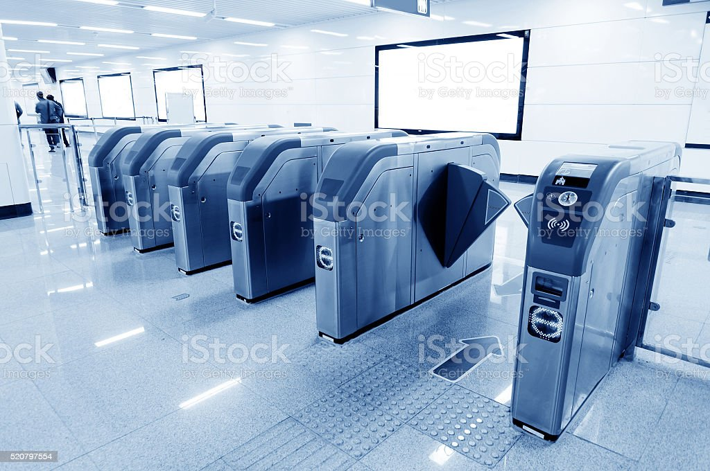 Subway station entrance automatic ticket machines stock photo