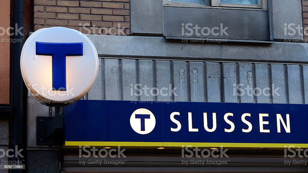 Subway station entrance Slussen sign in Stockholm stock photo
