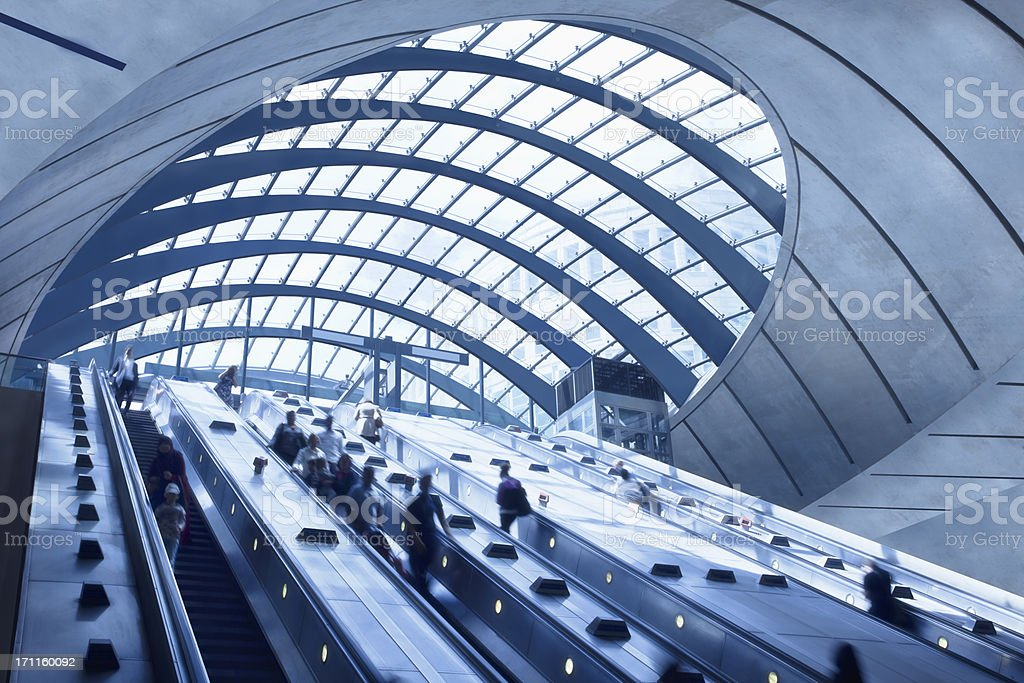 Subway Station Escalators, Canary Wharf, London, England stock photo