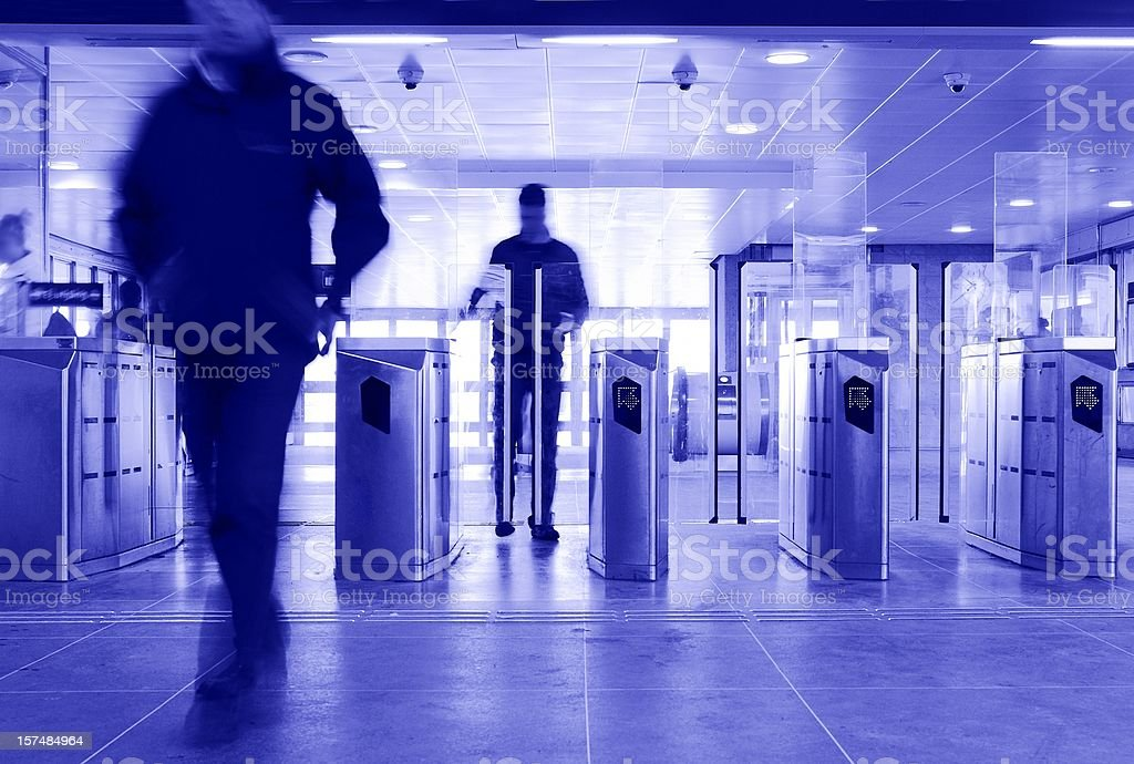 Subway station gate stock photo