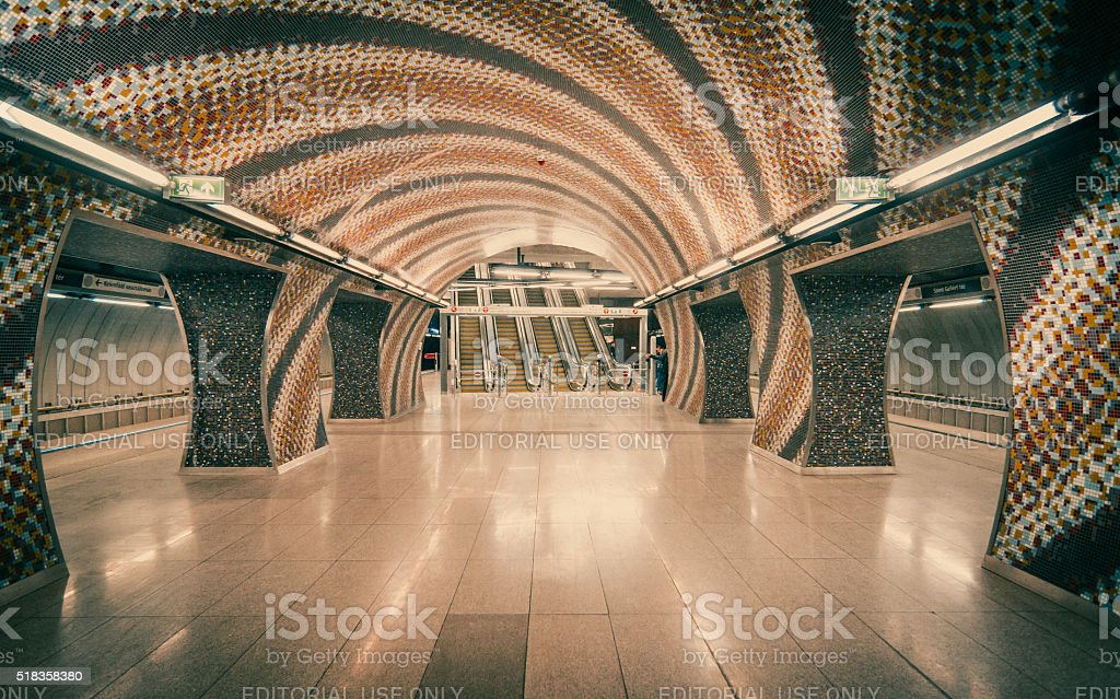 Subway Station in Budapest, Hungary stock photo