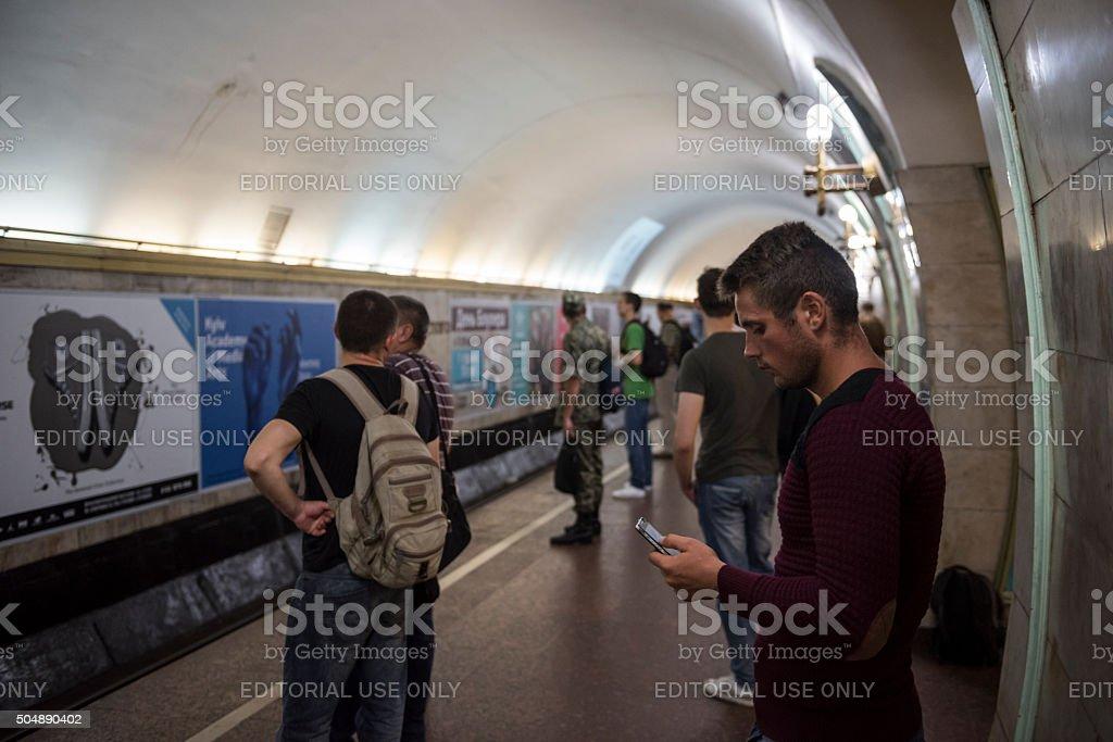 Subway station - Kiev, Ukraine stock photo