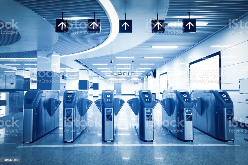 Subway station pedestrian access gates stock photo