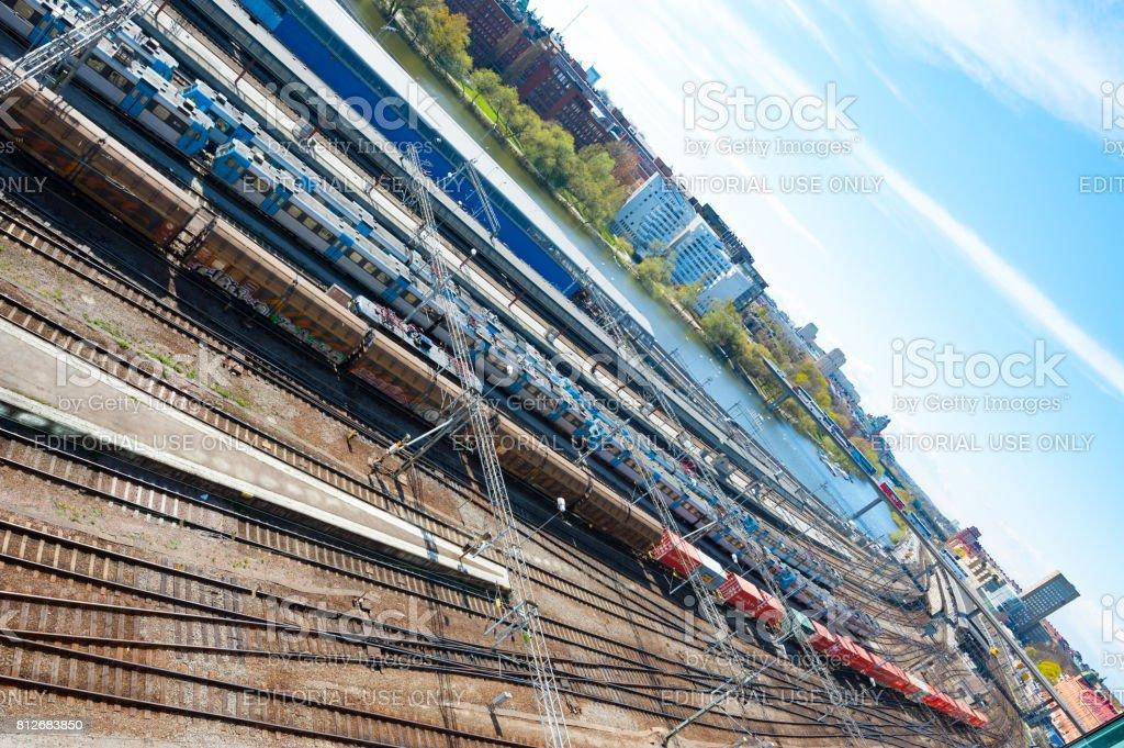 Subway station platform stock photo