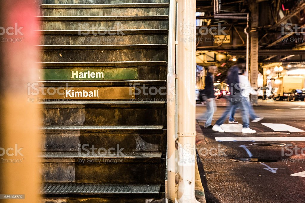 Subway station steps in Chicago stock photo