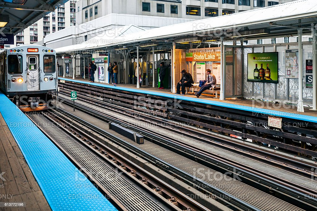 Subway stationon on Chicago Loop. stock photo